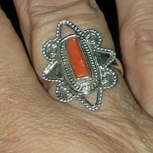 Red coral stick ring